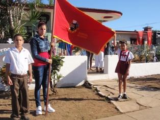 """Recibió el Centro Interno """"Camilo Cienfuegos Gorriarán"""" de Placetas  la Bandera de Honor de la Unión de Jóvenes Comunistas."""